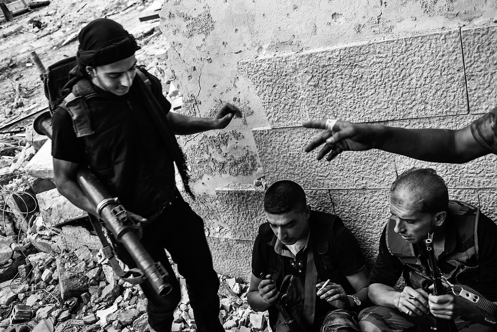 Aleppo, Syria, 2012/10/02.<br /> Saif Al-Dawla district.<br /> Members of a FSA katiba.