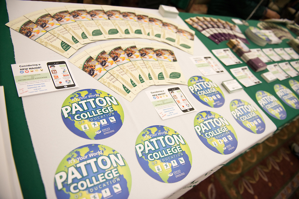 Pamphlets are spread across the Patton College of Education booth during the 2016 Ohio University Majors Fair held at the Baker Center Ballroom on Wednesday, September 14, 2016.