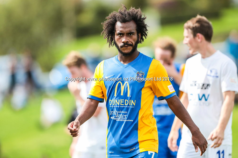 Southern's Omar Guardiola during the Southern United vs Hamilton, ISPS Handa Premiership football match held at Sunnyvale Park, Dunedin, New Zealand. 10 March 2018. Copyright Image: Derek Morrison / www.photosport.nz