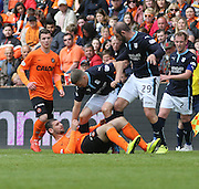 Dundee's Jim McAlister and Dundee United's Nadir Çiftçi clash - Dundee United v Dundee at Tannadice Park in the SPFL Premiership<br /> <br />  - © David Young - www.davidyoungphoto.co.uk - email: davidyoungphoto@gmail.com