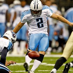 September 1, 2011; New Orleans, LA, USA; Tennessee Titans kicker Rob Bironas (2) kicks a field goal during the first quarter of a preseason game against the New Orleans Saints at the Louisiana Superdome. Mandatory Credit: Derick E. Hingle