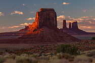 Famous buttes of Monument Valley at sunset, Arizona