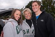 Brooke Erdy, Kim Mayo, and Kyle Endicott, a freshman football player. ©Ohio University / Photo by Rick Fatica