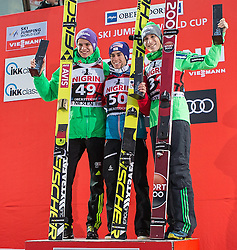 05.02.2017, Heini Klopfer Skiflugschanze, Oberstdorf, GER, FIS Weltcup Ski Sprung, Oberstdorf, Skifliegen, im Bild Andreas Welllinger (GER, 2. Platz), Sieger Stefan Kraft (AUT), Jurij Tepes (SOL, 3. Platz) // 2nd placed Andreas Welllinger of Germany Winner Stefan Kraft of Austria and 3rd placed Jurij Tepes of Slovenia during mens FIS Ski Flying World Cup at the Heini Klopfer Skiflugschanze in Oberstdorf, Germany on 2017/02/05. EXPA Pictures © 2017, PhotoCredit: EXPA/ Peter Rinderer