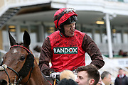 David Maxwell after his ride to third place on Road To Riches in the 4.05PM The Randox Health Foxhunters' Steeple Chase (Class 2) 2m 5f during the Grand National Festival Week at Aintree, Liverpool, United Kingdom on 4 April 2019.