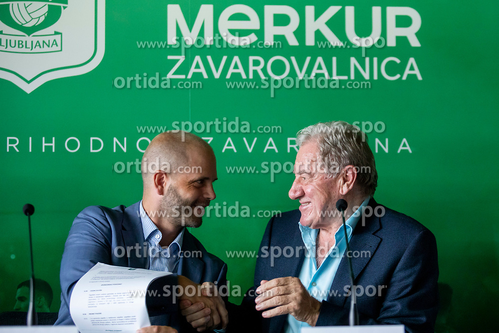 Martin Stihsen president of the management board of Merkur Zavarovalnica and Milan Mandaric president of NK Olimpija Ljubljana at press conference of NK Olimpija Ljubljana, on August 14, 2018 in SRC Stozice, Ljubljana, Slovenia. Photo by Urban Urbanc / Sportida