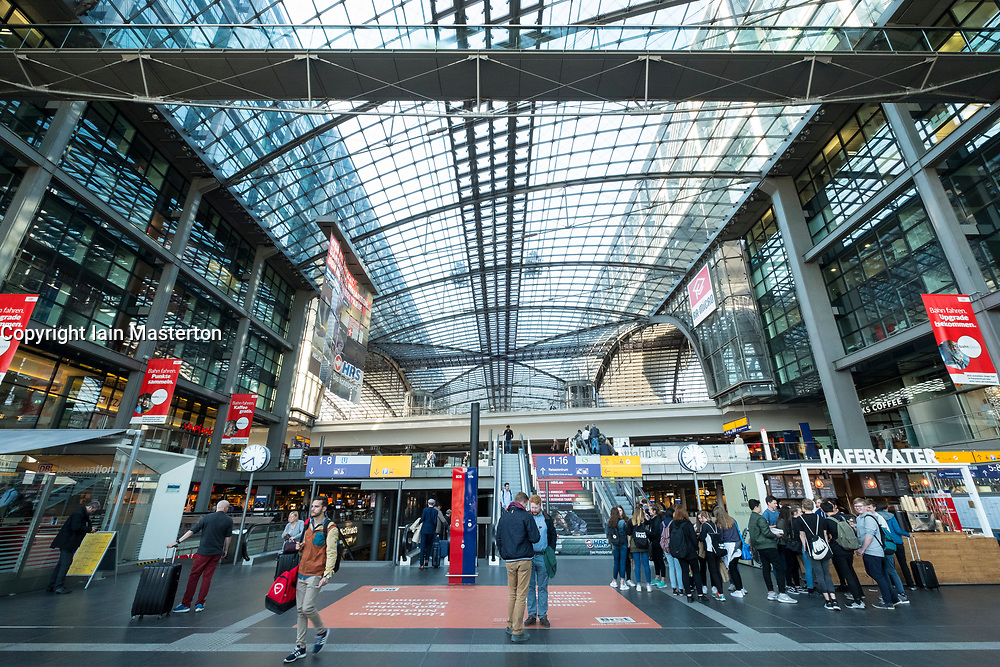 Interior of Berlin Hauptbahnhof main railway station in Berlin, Germany