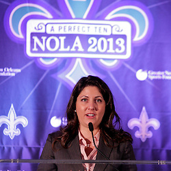 Sep 2, 2009; New Orleans, LA, USA; New Orleans Saints owner and executive vice president Rita Benson LeBlanc talks during a Super Bowl XLVII press conference at the New Orleans Convention Center and Bureau.   Mandatory Credit: Derick E. Hingle-US-PRESSWIRE