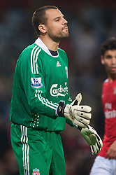 LONDON, ENGLAND - Wednesday, October 28, 2009: Liverpool's goalkeeper Diego Cavalieri in action against Arsenal during the League Cup 4th Round match at Emirates Stadium. (Photo by David Rawcliffe/Propaganda)