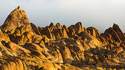 Morning light on granite boulders in the Alabama Hills, Owen's Valley, California USA