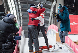 11.02.2018, Olympic Sliding Centre, Pyeongchang, KOR, PyeongChang 2018, Rodeln, Herren, 4. Lauf, im Bild Chris Mazdzer (USA, 2. Platz) mit seinem Trainer // silver medalist Chris Mazdzer of the USA with his Coach during the Men's Luge Singles Run 4 competition at the Olympic Sliding Centre in Pyeongchang, South Korea on 2018/02/11. EXPA Pictures © 2018, PhotoCredit: EXPA/ Johann Groder
