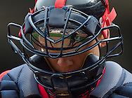 A close up view of Chris Herrmann #12 of the Minnesota Twins during a game against the Toronto Blue Jays on September 8, 2013 at Target Field in Minneapolis, Minnesota.  The Blue Jays defeated the Twins 2 to 0.  Photo by Ben Krause