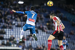 January 14, 2018 - Barcelona, Catalonia, Spain - 07 Gerard from Spain of Athletic Club de Bilbao defended by 12 Nunez from Spain of Athletic Club de Bilbao during La Liga match between RCD Espanyol v Athletic Club de Bilbao at RCD Stadium in Barcelona on 14 of January, 2018. (Credit Image: © Xavier Bonilla/NurPhoto via ZUMA Press)