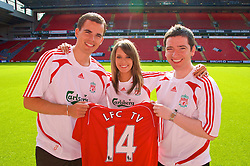 LIVERPOOL, ENGLAND - Thursday, September 6, 2007: Liverpool FC.TV presenters Matt Critchley, Claire Rourke and Peter McDowall at Anfield. (Photo by David Rawcliffe/Propaganda)