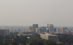 September 5, 2017 - Boise, ID, USA - Smoke invades Boise Tuesday, Sept. 5, 2017, forcing air quality in the Treasure Valley to a red warning. Wildfires throughout the Northwest are contributing to regional problem. (Credit Image: © Darin Oswald/TNS via ZUMA Wire)