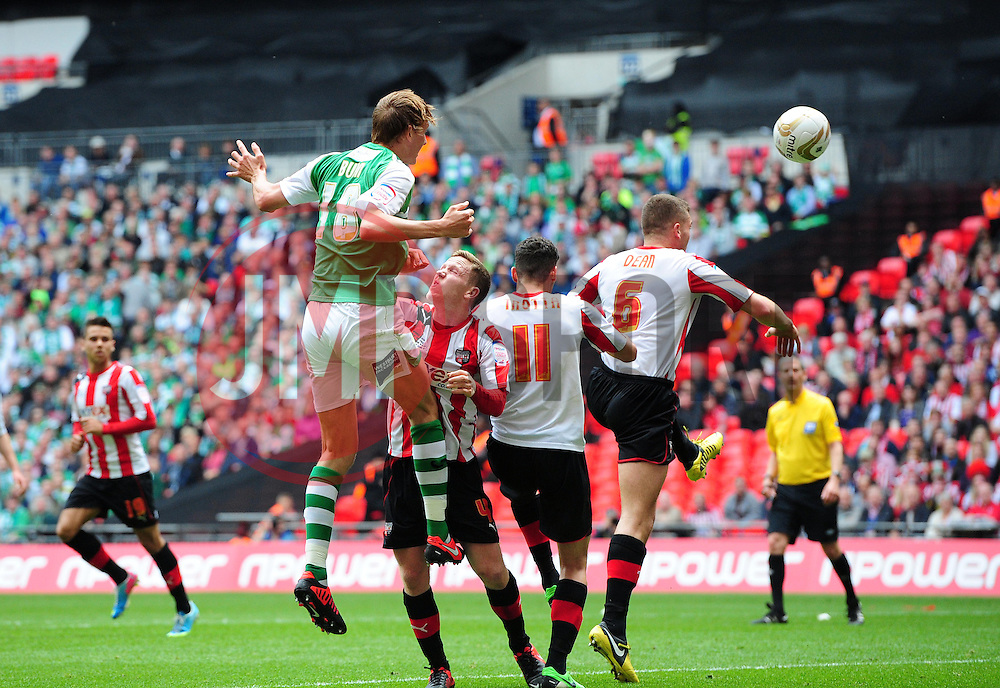 Yeovil Town's Dan Burn heads towards goal and Yeovil Town's James Hayter pokes the ball home from close range - Photo mandatory by-line: Joe Meredith/JMP - Tel: Mobile: 07966 386802 19/05/2013 - SPORT - FOOTBALL - LEAGUE 1 - PLAY OFF - FINAL - Wembley Stadium - London - Brentford V Yeovil Town