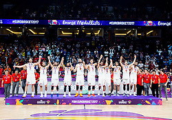 Players of Spain celebrate at medal ceremony after placed third during basketball match between National Teams  Spain and Russia at Day 18 in 3rd place match of the FIBA EuroBasket 2017 at Sinan Erdem Dome in Istanbul, Turkey on September 17, 2017. Photo by Vid Ponikvar / Sportida