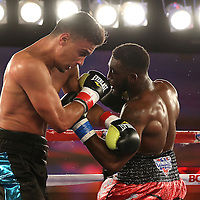 Alphonso Black (R) punches Daniel Rosario during a Telemundo Boxeo boxing match at the A La Carte Pavilion on Friday,  March 13, 2015 in Tampa, Florida. Rosario won the bout by TKO.  (AP Photo/Alex Menendez)