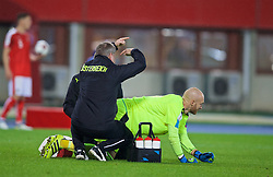 VIENNA, AUSTRIA - Thursday, October 6, 2016: Austria's goalkeeper Robert Almer is treated for an injury during the 2018 FIFA World Cup Qualifying Group D match at the Ernst-Happel-Stadion. (Pic by David Rawcliffe/Propaganda)