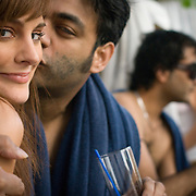 A beautiful foreign girl and a young Indian guy at the Aqua pool club of the Park Hotel in New Delhi