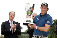 22 February 2009: Representatives of Northern Trust Corporation William Osborn (Chairman of the Board) and Frederick Waddell (President and CEO) during the trophy ceremony with golfer Phil Mickelson after the final round of the PGA Tour 2009 Northern Trust Open at The Riviera Country Club on Sunday in Los Angeles, CA.  Northern Trust received monetary funds during the bailout, but still sponsored this event despite taking government handout.