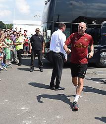 Steve Bould arrives for the pre-season match at Meadow Park, Boreham Wood.