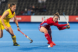 Amy Costello of Great Britain Women crosses the ball during the 2019 Women's FIH Pro League match at Lee Valley Hockey Centre, Stratford<br /> Picture by Simon Parker/Focus Images Ltd <br /> 03/05/2019