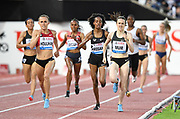 Shelby Houlihan (USA) defeats Laura Muir (GBR) and Sifan Hassan (NED) To win the women's 1,500m in 3:57.34 during the 2018 Athletissima in an IAAF Diamond League meeting at Stade Olympique de la Pontaise in Lausanne, Switzerland on Thursday, July 5, 2018.  Muir was second in 3:58.18 and Hassan placed third in 3:58.39. (Jiro Mochizuki/Image of Sport)