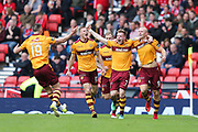 Curtis Main (#9) of Motherwell celebrates Motherwell's first goal (0-1) with Chris Cadden (#7) of Motherwell during the William Hill Scottish Cup Semi-Final match between Motherwell and Aberdeen at Hampden Park, Glasgow, United Kingdom on 14 April 2018. Picture by Craig Doyle.
