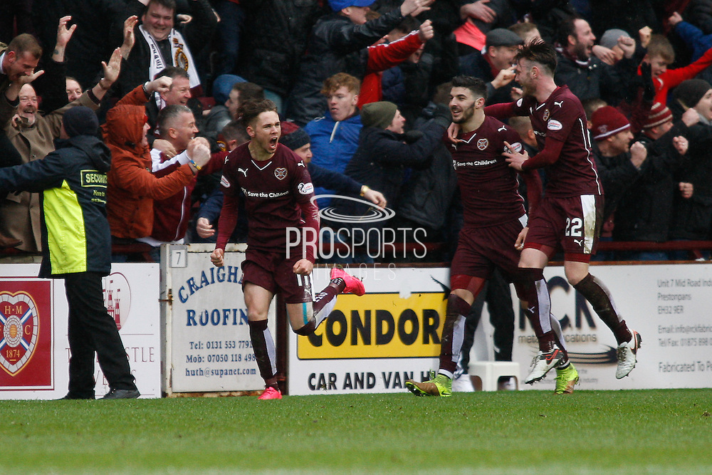 Hearts FC Midfielder Sam Nicholson scores and celebrates goal 2 during the Scottish Cup 5th round match between Heart of Midlothian and Hibernian at Tynecastle Stadium, Gorgie, Scotland on 7 February 2016. Photo by Craig McAllister.