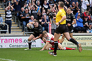 Hull FC centre Jack Logan (24) catches a high ball and then scores a try to make it 10-0  during the Betfred Super League match between Hull FC and Hull Kingston Rovers at Kingston Communications Stadium, Hull, United Kingdom on 19 April 2019.