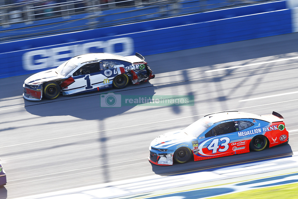April 29, 2018 - Talladega, Alabama, United States of America - Jamie McMurray (1) and Darrell Wallace, Jr (43) battle for position during the GEICO 500 at Talladega Superspeedway in Talladega, Alabama. (Credit Image: © Chris Owens Asp Inc/ASP via ZUMA Wire)