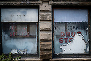 One of the many vacant businesses in Monessen.<br /> <br /> Monessen, a third-class city, faces the same problems as th other former steel towns — declining population and tax revenue after the mills shut down. The city's population has dropped to 7,600 from a high of 20,268 in 1930.