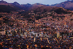 Aerial view of the city of La Paz at dusk, La Paz,  Bolivia, South America