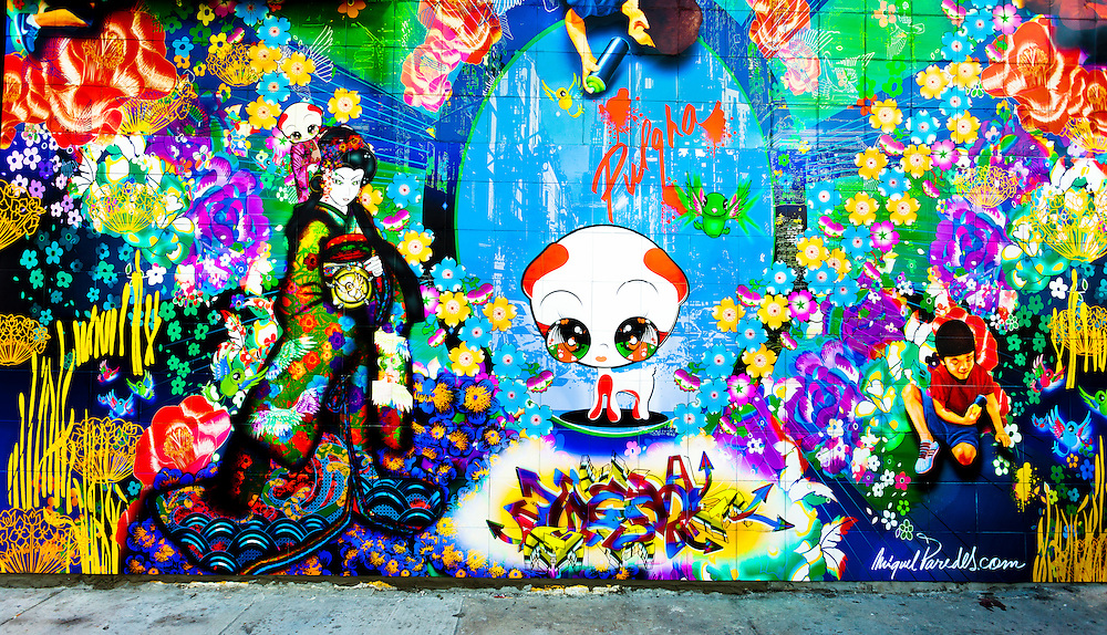 Mural by Miguel Paredes in Miami's funky Wynwood art gallery district during Art Basel Miami Beach 2010.