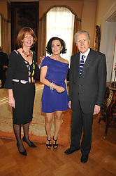 Left to right, SANDRA ARAGONA, NANCY DELL'OLIO and The Italian ambassador GIANCARLO ARAGONA at a party to celebrate the publication of Nancy Dell'Olio's book 'My Beautiful Game' held at the Italian Embassy, Grosvenor Square, London on 17th April 2008.<br />