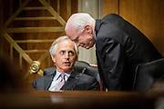 Washington, DC, USA, 20140326: Senator Bob Corker og John McCain er begge misfornøyd med hva Obama-regjeringen har gjort i forhold til Syria, Generalsekretær i Røde Kors, Jan Egeland, snakker under en senatshøring med Syria som tema. Foto: Ørjan F: Ellingvåg/ Dagbladet