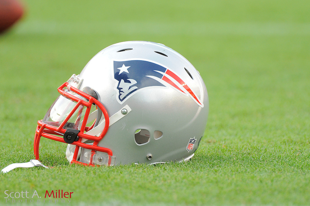 A New England Patriots helmet sits on the field prior to the Pats game against the Tampa Bay Buccaneers at Raymond James Stadium on Aug. 18, 2011 in Tampa, Fla...©2011 Scott A. Miller