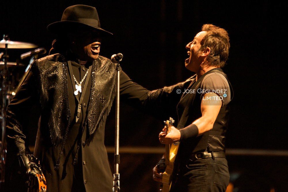 Bruce Springsteen and Clarece Clemons with E-Street Band performs at Monte do Gozo in Santiago de Compostela, Galicia, Spain