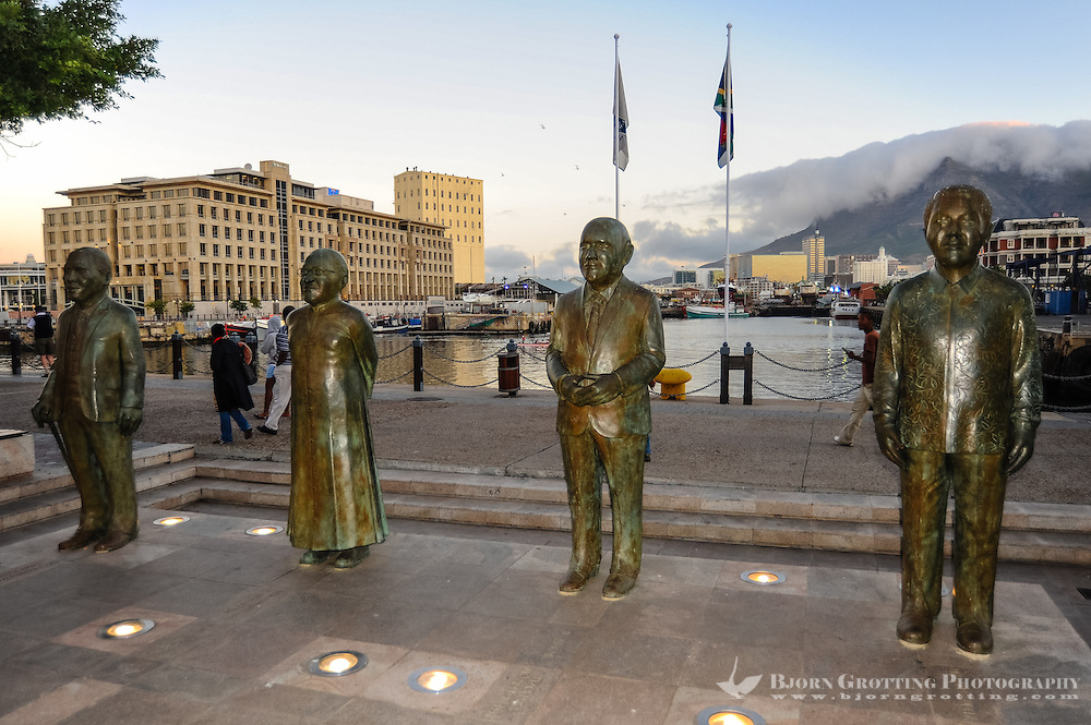 The Victoria & Alfred Waterfront in the harbour of Cape Town, South Africa. The four South Africans who has received the Nobel Peace Prize. From the left Albert Lutuli, Desmond Tutu, F.W. de Klerk and Nelson Mandela.