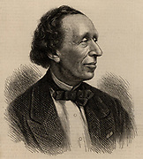 Hans Christian Andersen (1805-1875) Danish author and story teller, best remembered for his Fairy Stories.  Engraving.