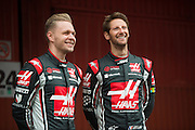February 26, 2017: Circuit de Catalunya. Kevin Magnussen, Romain Grosjean (FRA), Haas F1 Team, VF17 launch