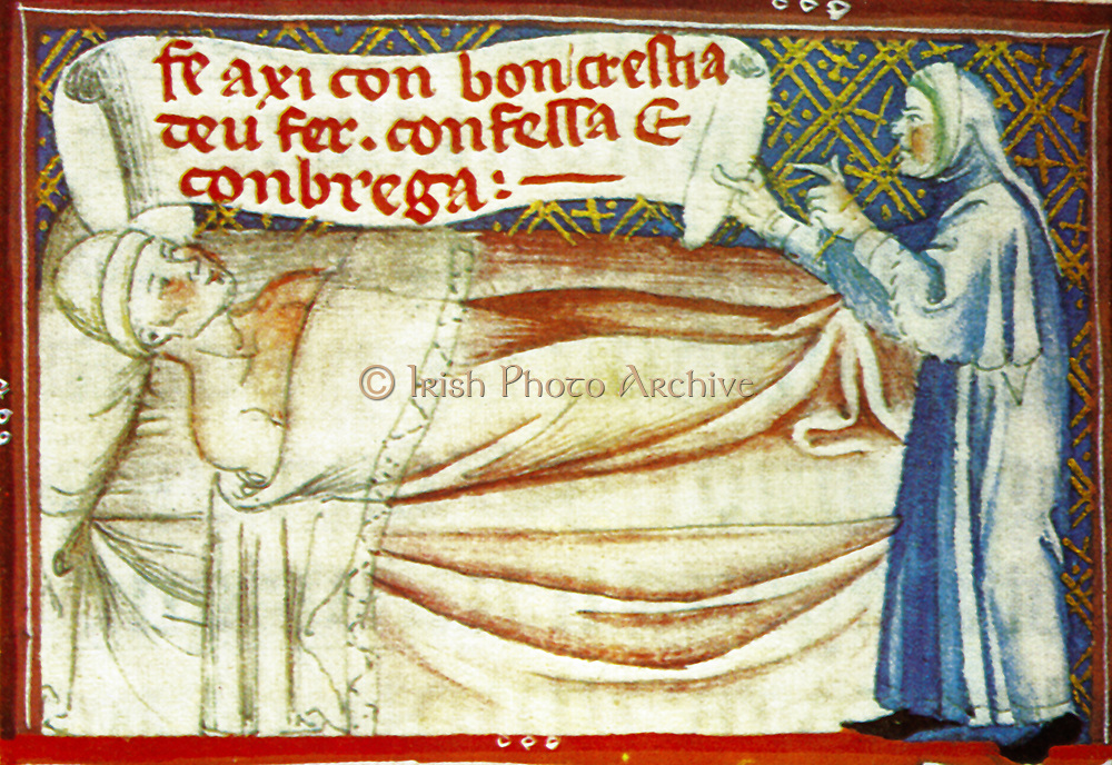 Scene from the 14th Century, illustrated manuscript the Breviari d'amor. It illustrates the seven Acts of Mercy. Here  is shown visiting the sick