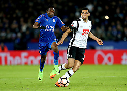 Nick Blackman of Derby County passes the ball away from Ahmed Musa of Leicester City - Mandatory by-line: Robbie Stephenson/JMP - 08/02/2017 - FOOTBALL - King Power Stadium - Leicester, England - Leicester City v Derby County - Emirates FA Cup fourth round replay
