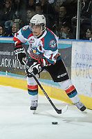 KELOWNA, CANADA - FEBRUARY 18: Cody Chikie #14 of the Kelowna Rockets skates with the puck against the Red Deer Rebels at the Kelowna Rockets on February 18, 2012 at Prospera Place in Kelowna, British Columbia, Canada (Photo by Marissa Baecker/Shoot the Breeze) *** Local Caption ***