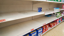 © Licensed to London News Pictures. 12/03/2020. London, UK. Sainsbury's store in London runs out of washing powder amid an increased number of cases of Coronavirus (COVID-19) in the UK. 590 cases have been tested positive and ten patients have died from the virus in the UK. Photo credit: Dinendra Haria/LNP