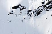 Verbier, Switzerland. March 20th 2010..X-Trem Verbier 2010 - Freeride World Tour.Bec des Rosses from Col des Gentianes.German snowboarder Aline Bock