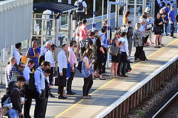 &copy; Licensed to London News Pictures. 02/08/2018<br /> Petts Wood, UK. Commuters at Petts Wood train station, Petts Wood, South east London, face hot morning temperatures today as the heatwave starts to return to the UK. Photo credit: Grant Falvey/LNP