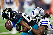 ARLINGTON, TX - OCTOBER 14:  Keelan Cole #84 of the Jacksonville Jaguars has a pass knocked away by Jaylon Smith #54 of the Dallas Cowboys at AT&T Stadium on October 14, 2018 in Arlington, Texas.  The Cowboys defeated the Jaguars 40-7.  (Photo by Wesley Hitt/Getty Images) *** Local Caption *** Keelan Cole; Jaylon Smith