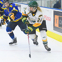 1st year forward Merissa Zerr (24) of the Regina Cougars in action during the Women's Hockey Home Game on October 15 at Co-operators arena. Credit: Arthur Ward/Arthur Images